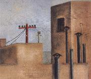 After Fride left the Red Cross Hospital,she painted a cityscape of a small,stark rooftop view.On one of the buildings she painted a red cross