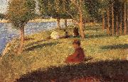 Georges Seurat The Person sat on the Lawn oil painting