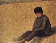 Georges Seurat The small Peasant sat on the lawn of the Pasture oil painting