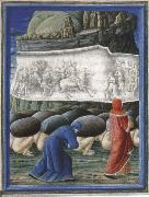 Dante,Guided by virgil bows before a relief depicting Emperor Trajan and the widow in canto X of the Purgatorio