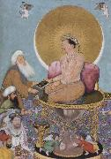 Hindu painter The Mughal emperor jahanir honors a holy dervish,over and above the rulers of the lower world oil painting