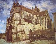 Jean-Antoine Watteau The church at Moret,Evening oil painting reproduction
