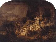 REMBRANDT Harmenszoon van Rijn St.John the Baptist Preaching oil painting reproduction
