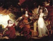 REYNOLDS, Sir Joshua Three Ladies adorning a term of Hymen