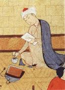 unknow artist Qays,the future Majnun,begins as a scribe to write his poem in honor of the theophany through Layli oil painting reproduction