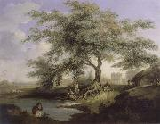 Natives Drawing Water form a pond with Warren Hastings-House at Alipur in the Distance