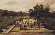 A. Bryan Wall Shepherd and Sheep oil painting