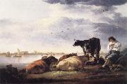 Aelbert Cuyp Cows and Herdsman by a River oil painting reproduction