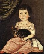 Beardsley Limner Child Posing with Cat oil painting