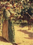 Charles Courtney Curran Woman with a horse oil painting
