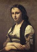 Corot Camille The woman of the pearl