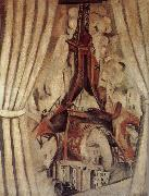 Delaunay, Robert Eiffel Tower  in front of Curtain oil painting