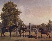 The Third Duke of Portand and his Brother,Lord Edward Bentinck,with Two Horses at a Leaping Bar