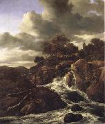 Jacob van Ruisdael A Waterfall with Rocky Hilla and Trees