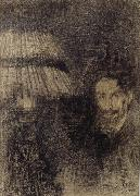 James Ensor Self-Portrait by Lamplight or In the Shadow oil painting