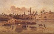 Adrien Dauzats View of Damanhur during the Flooding of the Nile oil painting
