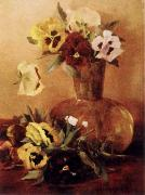 Pansies in a Glass Vase