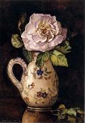 White Rose in a Glazed Ceramic Pitcher with Floral Design