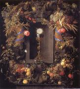 Chalice and the host,surounded by garlands of fruit