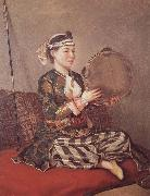 Girl in Turkish Costume with Tambourine