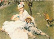 Camille Monet and Her son Jean in the Garden at Arenteuil