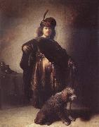 Rembrandt van rijn Self-Portrait with Dog oil painting reproduction