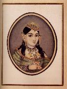 A Courtesan of Maharaja Sawai Ram Singh of Jaipur Dressed for the Spring Festival