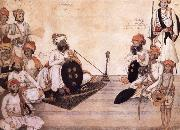 Thakur Daulat Singh,His Minister,His Nephew and Others in a Council