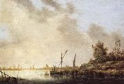 A River Scene with Distant Windmills