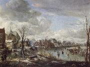 A Frozen River Near a Village,with Golfers and Skaters