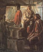 Antoine Le Nain Blacksmith at his forge oil painting