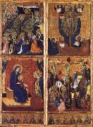 Barnaba Da Modena THe Coronation of the Virgin ,the trinity,the tirgin and child,the Crucifixion oil painting