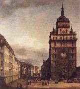 Square with the Kreuz Kirche in Dresden