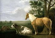 CALRAET, Abraham van A Horse and Cows in a Landscape oil painting