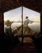Carl Gustav Carus A Gondola on the Elbe near Dresden oil painting reproduction