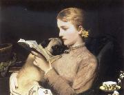 Girl Reading with Pug