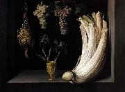 Felipe Ramirez Still Life with Cardoon, Francolin, Grapes and Irises oil painting