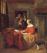 Gabriel Metsu A Woman Seated at a Table and a Man Tuning a Violin oil painting reproduction