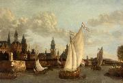 Jacobus Vrel Capriccio View of Haarlem oil painting