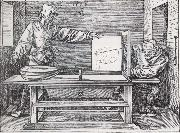 Jacopo de Barbari Man Drawing a lute with the monogram of the artist from the Manual of Measure-ment oil painting