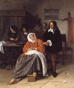 An Interior with a Man Offering an Oyster to a Woman