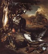 Jan Weenix A Deerhound with Dead Game and Implements of the Chase oil painting
