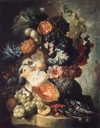 Jan van Os Fruit,Flwers and a Fish