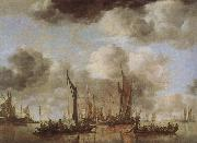 Jan van de Cappelle A Shipping Scene with Dutch Yacht oil painting artist