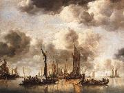 A Dutch Yacht Firing a Salute as a Barge Pulls Away and Many Small vessels at Anchor