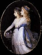 Jean Urbain Guerin Georgiana, Duchess of Devonshire, with Lady Elizabeth Foster oil painting