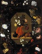 Juan de  Espinosa Still-Life with Flowers with a Garland of Fruit oil painting artist