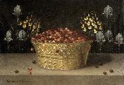 Basket of Cherries and Flowers