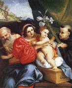 LOTTO, Lorenzo The Virgin and Child with Saint Jerome and Saint Nicholas of Tolentino oil painting artist