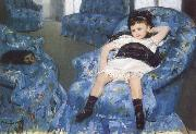 Little Girl in a Blue Amchair